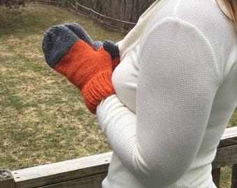Mittens // Driving Gloves - ORANGE & GREY