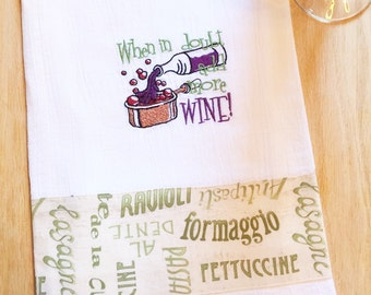 Dish towel COPPER pot / ADD WINE theme, Embroidered flour sack style