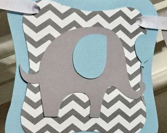 Elephant Baby Shower Banner, Little Peanut, It's A Boy, Personalized Chevron Name Banner,Custom Birthday Banner, Custom Decorations