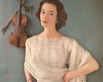 Lavenda Hand Knit 610 - Jumper and Stole in Hairpin Lace (Pdf format)