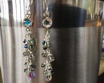 Crystal Hula moon earrings