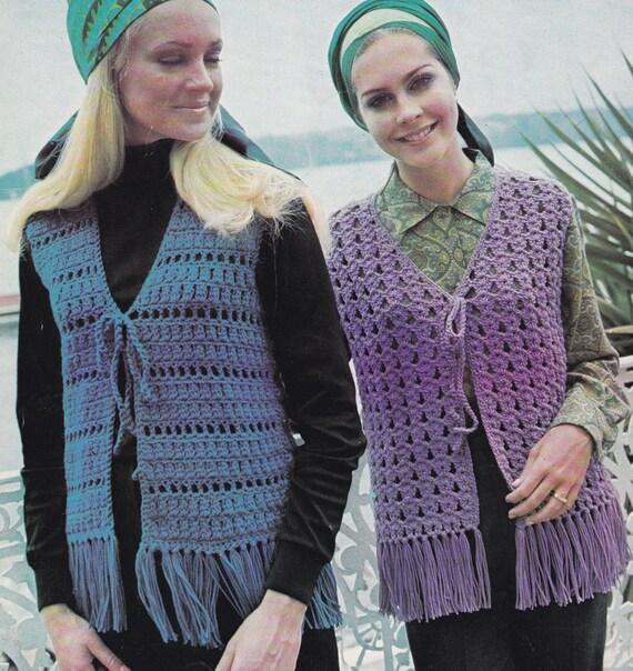Women\'s crochet waistcoat PDF pattern fringed crocheted