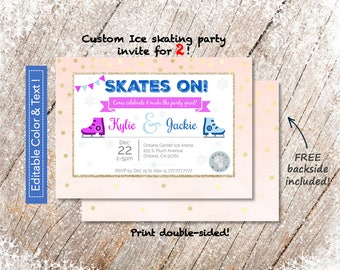 Cute Ice Skating Party Invite for 2 in 5x7_PRINTABLE PDF