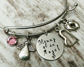 Mommy Of An Angel Bracelet, Memorial Bangle, Memorial Bracelet, In Memory of Jewelry, Child Loss Jewelry, Remembrance Gift, Sympathy Gift