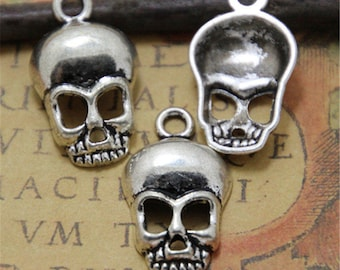 20pcs Skull Charms Pendants  Silver Tone 27mm x 17mm x 5mm ASD0059