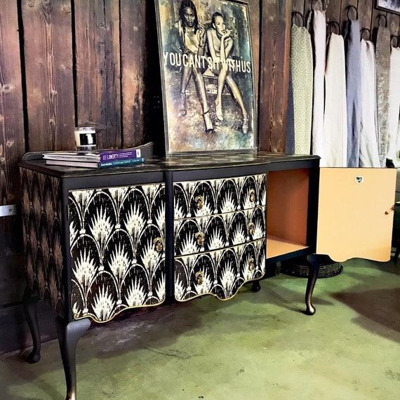 SOLD. Fabulous vintage upcycled sideboard transformed with Anna Hayman Designs paper - Commissions welcome