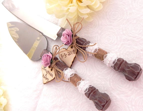 Rustic Wedding Cake Server And Knife Set, Aged Wood Look Lilac Rose and Personalized Wood Hearts, Bridal Shower Gift, Wedding Gift