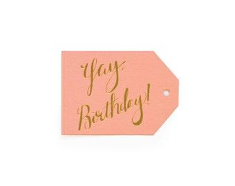 Yay Birthday - set of 6 letterpress tags