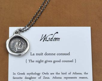 Owl Wisdom Wax Seal Necklace The night is full of wisdom - Wax Seal Pendant of an Owl in a Tree - 111