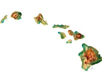 Hawaii Topography Print