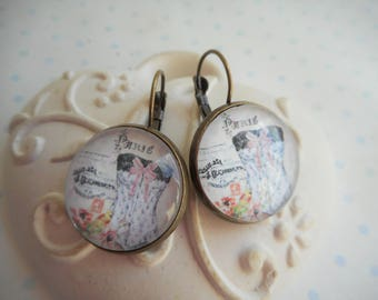 """Earrings cabochon glass 20 mm """"jb corset"""" Stud Earrings white, pink, sexy woman, bronze, optional gift box mother's day"""
