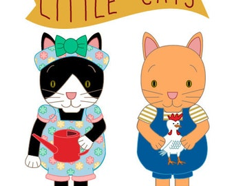 Paper dolls - 2 cat friends with 5 outfits each - Cat paper dolls  - Dress up dolls - Downloadable paper craft  -  Printable PDF