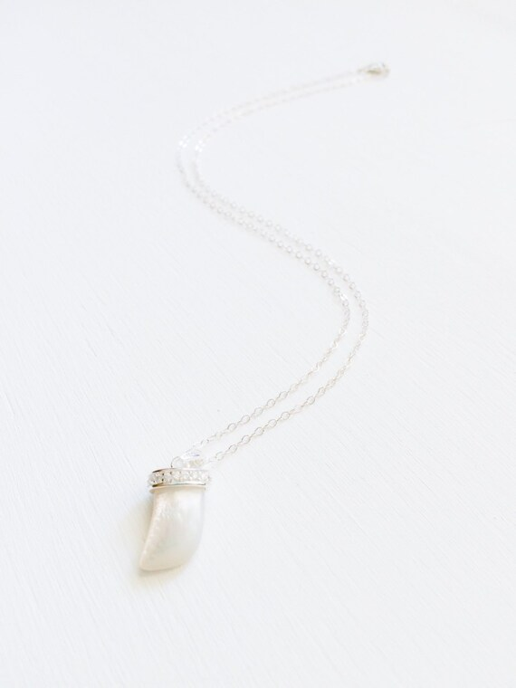 Mother of pearl horn pendant charm necklace with sterling aloadofball Choice Image