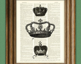 Three ROYAL CROWNS illustration beautifully upcycled dictionary page book art print