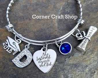Bracelet Pendant Charms for bracelet etsy class of 2018 she believed she could so she did graduation charm bangle bracelet personalized initial audiocablefo