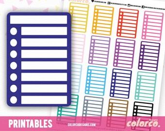 BLANK Stackable Sidebar Checklists Printable Planner Stickers Erin Condren Happy Planner Inkwell Plum Paper Instant Digital Download