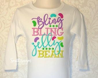 Easter Shirt, Girls Easter Shirt, Monogram Easter Shirt, bling bling, Jelly Bean, Personalized Easter Shirt, Jelly Bean Shirt