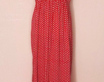 April Cornell Women's Medium Vintage Dress Red Floral Sleeveless Collared Modest