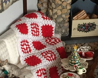 SALE Miniature Afghan, Crochet White and Red Afghan, Dollhouse Miniature, Hand Made Mini Afghan, Dollhouse Throw, Bedspread, Blanket