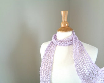 Skinny Mesh Scarf, Thistle Purple, Hand Knit, Cotton Blend, Women Teen Girls Summer Scarf, Lacy Neck Scarf, Gift for Her