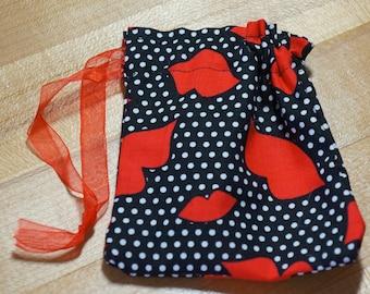 Lipstick Kisses Polka Dot Drawstring Bags