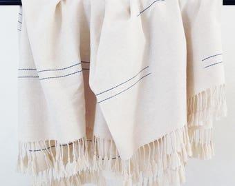 Sunrise Blanket (white and indigo) - Light Blanket - Bed throw - handwoven blanket - Handwoven throw - bedding - Blanket and throw