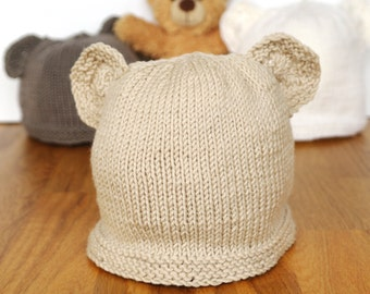 Easy baby knitting pattern / Teddy bear hat / Baby hat with ears / Beginner knitting pattern / Baby hat knitting pattern PDF download