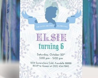 Queen Elsa Silhouette Frozen Birthday Invitation | Frozen Party Invitation | Winter Snow Party Invitation | Printable Digital Invitaion