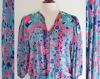 Diane Freis Tassel Top or Blouse / Chiffon Patchwork Vintage 1980s / 80s Hip Sash / Colorful Mix Print Turquoise n Pink Boho, Gypsy / Small