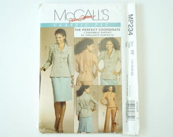 Uncut McCall's Paper Sewing Pattern M5335 Misses Lined Jacket, Skirt And Pants Size 16, 18, 20, 22
