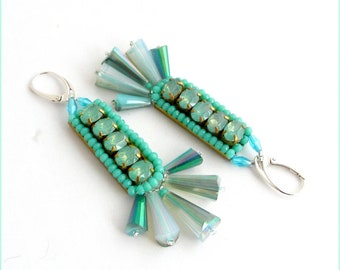 green/blue/silver crystal earrings - chic earrings - gray/turquoise/green - silver - Crystal beads