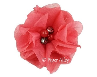 "Coral Rose, Flutter Impatiens, Chiffon Folded Petal Flower 2.5"" - Sewn Rhinestone & Pearl Center DIY Headband, Hair Clip, Bridal, Photo Prop"