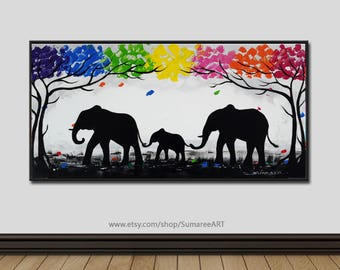 40 x 80 cm, Colorful elephant painting on canvas
