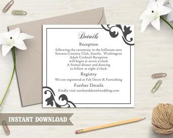 DIY Wedding Details Card Template Download Printable Wedding Details Card Editable Black Details Card Elegant Enclosure Cards Party Cards