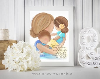 Gift for Mom or Wife - Mother Daughter Son - Mother Blonde, Daughter Brunette, Son Brown Hair - Family Wall Art Print