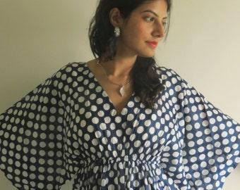 Butterfly Sleeves Empire Waist Dots Kaftan Dress Summer Dress, Long Maxi, loungewear, beachwear, Maternity Dress, Holiday Vacation Wear