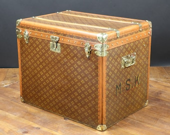 1930s Aux Etats Unis French Monogram Steamer Trunk