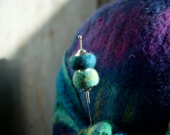 Unique Hat pin felt and Sterling silver stick pin Hat pin. HAT Pin jewelry