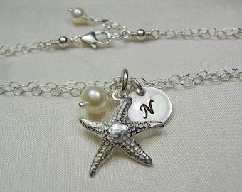 Bridesmaid Jewelry Set of 3 Bridesmaid Gift Personalized Bridesmaid Bracelet Beach Wedding Jewelry Starfish Initial Bracelet Bridal Jewelry