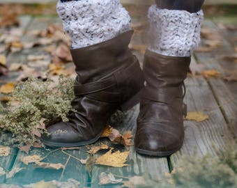 Chunky Boot Cuffs | Tall White Tweed Crochet Chunky Boot Cuffs