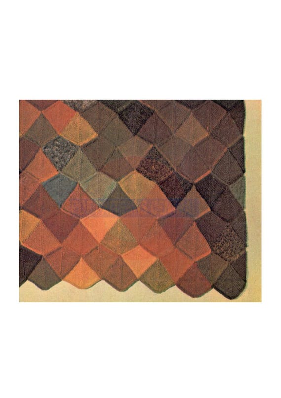 Vintage 70s Autumn Leaves Knitted Afghan Rug Pattern Instant