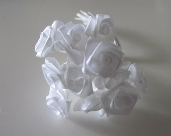 set of 2 bunches of 12 flowers each on pin metal - white satin