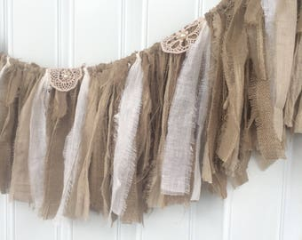 rustic burlap banner, fabric garland, fringe burlap bunting, lace swag, neutral, baby photo prop, fabric banner