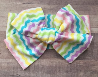 Wrap Headband - Hair Wrap - Headwrap - One Size - Newborn-Toddler-Child-Adult - Pastel Waves
