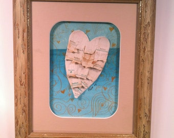 Ruffled Heart on Turquoise Sea  Upcycled eco recycled art