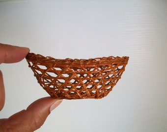 shadow box miniature woven basket miniature decor miniature rustic basket mini wicker basket miniature art box decor doll house assemblage