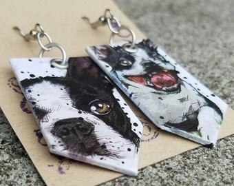 Boston Terrier Dog Earrings - Spirit of Massachusetts - hand-painted Boston Terrier earrings