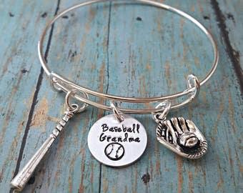 Baseball Grandma Bracelet - Baseball - Ball Grandma - Sports - Sports Jewelry - Softball - Women's Jewelry - Baseball Fan - Team Sports