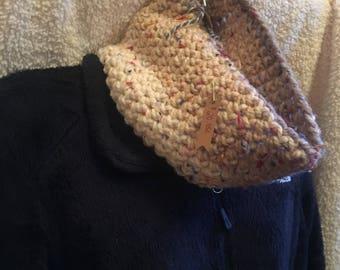 Crochet Beidge Cowl/Neckwarmer with Rainbow Flakes