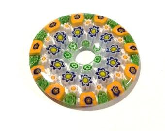 40mm Millefiori Donut Pendant Millefiori FLOWERS Orange Green Glass Donut Pendant 40mm Large Glass Focal Jewelry Mosaic Supplies (S165)